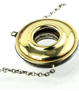 Tiffany &Co Picasso Magic 18K Gold Sterling Silver Reversible Disk Necklace RARE