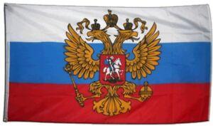 Russland mit Wappen Hissflagge russische Fahnen Flaggen 150x250cm