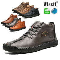 Fashion Mens Leather Casual Oxfords Shoes Hand Stitching Breathable Loafers Size