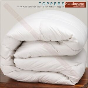 """100% Pure Canadian Goose Down Mattress Toppers with 2"""" Side Walls All Sizes"""
