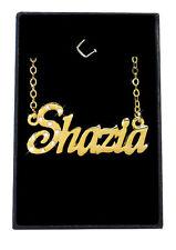 SHAZIA Collier Prénom 18K Plaqué or - Demoiselle d'honneur Cadeau Arabe Musulman