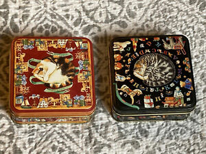 2 X Square Knick Knack Tins Tabby Calico Cats By Elite Gift Boxes Dana Kubick