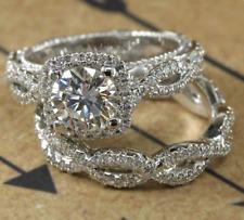 1.90CT Near To White Round Moissanite Halo Engagement Bridal 925 Silver Ring Set