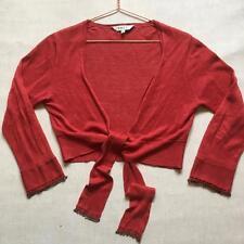 East Rust Terracotta Tie Up Beaded Detail Bolero Shrug Cover Up Cardigan Size 12