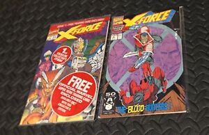 X-FORCE #1 MINT SEALED W/ CABLE TRADING CARD & #2 1991 MARVEL COMICS Rob Liefeld