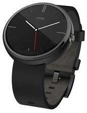 Motorola Moto 360 46mm Touch Android Wear Bluetooth Smart Watch Black Leather