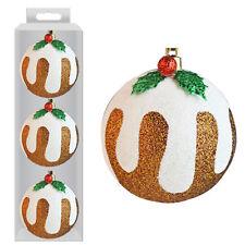 Décoration Sapin de Noël Ensemble de 3 Pailleté Pudding Noël Boules