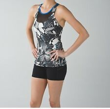 Lululemon Mesh With Me Tank Paded Bra Fly Butterfly Angle Wing/ Black Sz 2 RARE