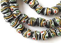 Fine Ghana handmade Recycled glass Match multi Round African trade beads