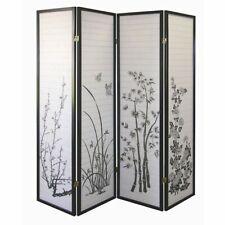 Room Divider 4-panel Bamboo Floral Print Black Frame by Legacy decor, Pick Up