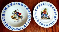 SET OF 2 Wood and Sons English Alpine White  Children's Alphabet Plate and Bowl