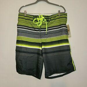 NWT Men's OP Stripe Green/Blue Board Shorts Swim Trunks Swimsuit L/XL
