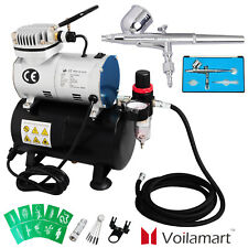 Voilamart Air Compressor Kit 0.3mm Needle Dual Action Airbrush Air Brush Stencil