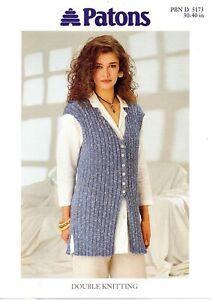 "5173 Ladies Rib Waistcoat Knitting Pattern In DK - 30 - 40"" (76-102cm)"