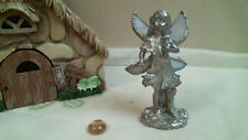 stained glass Cast FAIRY with WHITE IRIDESCENT WINGS OOAK free standing