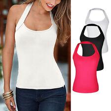 Hot Womens Backless Vest Halterneck Top Sleeveless Blouse Casual Tank T-Shirt