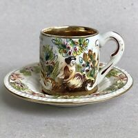 CAPODIMONTE Porcelain Demitasse Coffee Cup Saucer Relief Figures RS MARINO 3126