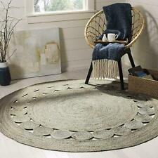 Round Rug Natural Jute Reversible Handmade Hemp Carpet Eco Friendly Area rag Rug