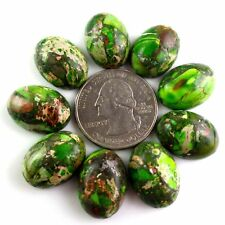9Pcs 18*13*7mm Cyan Sea Sediment Jasper &Pyrite Oval Cab cabochon  F-dhs15