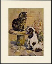 COCKER SPANIEL AND CAT CHARMING DOG PRINT MOUNTED READY TO FRAME