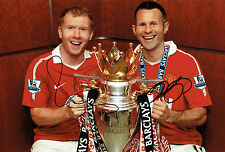 Ryan GIGGS & Paul SCHOLES Double Signed Autograph 12x8 Photo B AFTAL COA