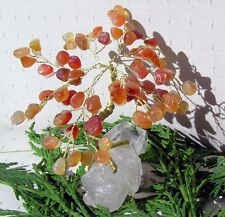 Orange Carnelian Crystal Gem Tree Mounted on a Bed of Clear Quartz