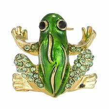 Christmas Green Rhinestone Crystal Animal Frog Brooches Pins Xmas Party Jewelry