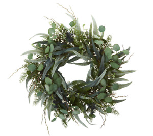 "24"" Green Eucalyptus Leaf Wreath, Artificial Spring Summer For Front Door - NEW!"