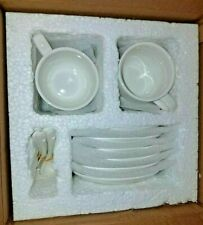 LIFVER Espresso Cups and Saucers with Spoons Set of 6, 2.5 Ounce Porcelain Demit