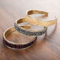 Fashion Women's Headband Metal Hairband Crystal Wide Hair Band Hoop Headwear