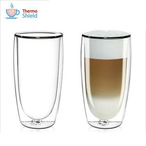 Double Wall Insulated LATTE Glasses with ThermoShield Technology (2 Pack)