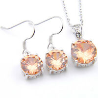 Classical Round Shiny 2 Pcs 1 Lot Natural Morganite Silver Hook Pendant Earrings