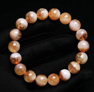 11mm Natural Yellow Citrine Quartz Crystal Beads Bracelet AAA