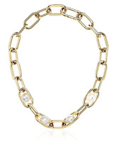 MICHAEL KORS Women's White Pearl Link Yellow Gold Tone Chain Necklace MKJ6982710