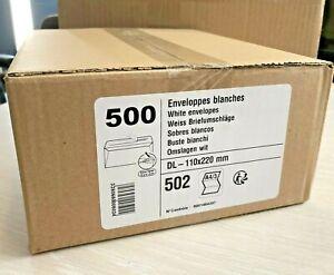 500 Enveloppes, DL 110 x 220 mm blanc sans fenêtre  envoi, lettre, petit object