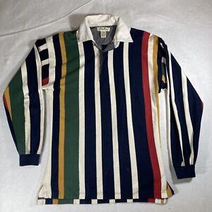 Vintage Eddie Bauer Men's Multicolor Vertical Striped Long Sleeve Polo Shirt S