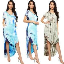 Mujer Verano Tie Dye Impreso Maxi vestido largo con cuello en V Damas Vestido Informal Vacaciones