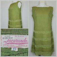 Vintage Jacaranda Mexican Pin Tuck Dress w/ Lace Women's Medium Boho 1960's