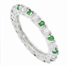 EMERALD & WHITE TOPAZ 1.43 CWT SILVER RING WHITE GOLD  & DIAMOND LOOK  MAY BIRT