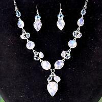 "Rainbow moonstone & Blue Topaz Necklace set 925 Sterling Silver 18"" & 31.59g"