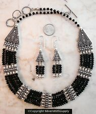 Black onyx faceted crystal 5 strand collar necklace silver pl 17-19 inch fj075