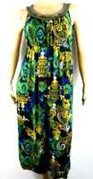 Catherines green victorian print beaded scoop neck sleeveless maxi dress 14/16