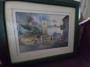 Colin Beats Royal Doulton artist small watercolour Breage Village Cornwall
