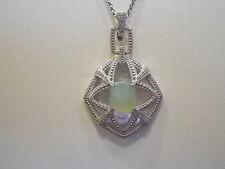 Judith Jack 1/10 cttw Diamond & Aqua Chalcedony Sterling Enhancer Necklace