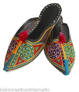 Indian Handmade Women Slippers Shoes Mojari Multi-Color Clogs Juti Flat US 4
