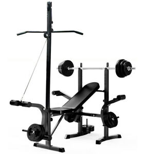 Multi-Station Weight Bench Press Pull Down Home Gym