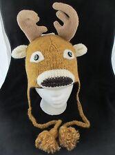 deLux DEER HAT knit ski cap ADULT reindeer animal costume LINED dear decoy mens