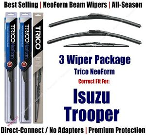 3pk Wipers Front & Rear - NeoForm - fit 1990-1991 Isuzu Trooper - 16170x2/30160