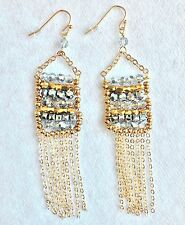 Leslie Danzis Colorblock Austrian Crystal Fringe Chain Chandelier Earrings NWT