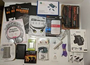 JUNK DRAWER LOT of Electronics and Accessories, MOSTLY NEW - Vivatar,JVC,GE,